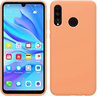 Matte Plastic Flexible Protection Cover, Smooth, Soft TPU Case for Huawei P30 Lite (Light Orange)