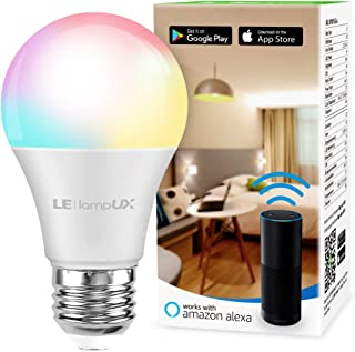 Alexa Smart Light Bulb, RGB Color Changing LED Bulbs, Works with Alexa and Google Home, Dimmable A19 E26 Bulb 60 Watt Equivalent, No Hub Required, 2.4GHz WiFi