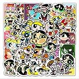 WUWEI Dibujos Animados Powerpuff Girl Graffiti monopatín Impermeable Maleta de Viaje teléfono portátil Equipaje Pegatinas Lindos Juguetes para niños y niñas 50 Uds