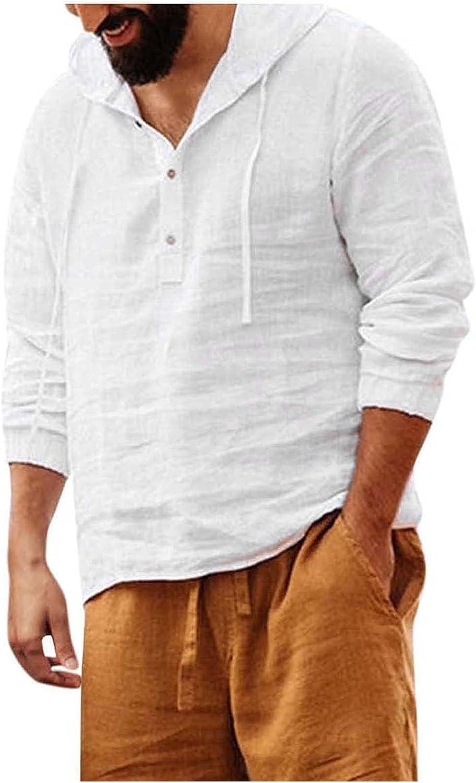 Men's Loose Fit Linen Hoodies Swatshirt Casual Short Sleeve Hippie Summer Beach Henley T Shirts Tops