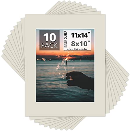 5 Pack of 11x14 Acid Free White Core Picture Mats cut for 8x10 Pictures in Ocean Grey