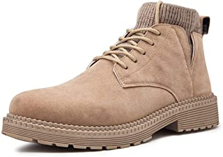 Happy-L Shoes, Personality Ankle Boots for Men High Top Shoes Lace up Round Toe Suede Breathable Sewing Short Tube Side Cut Anti-Slip Warm Lining Socks Collar