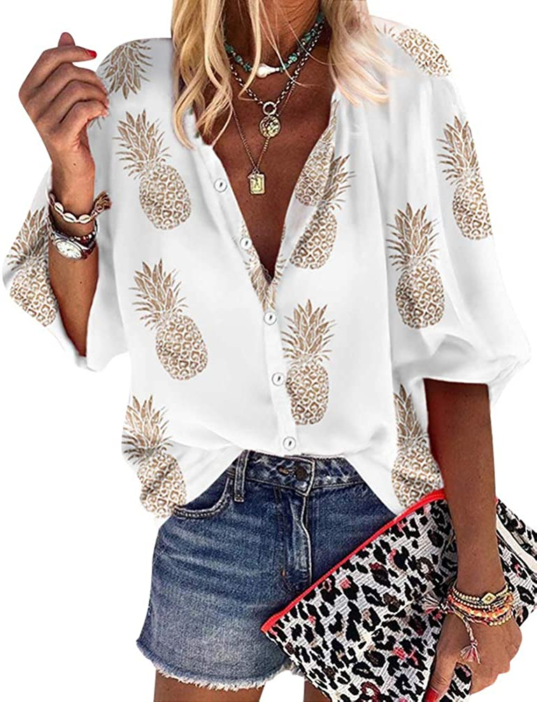 ZXZY Women Pineapple Printed Lapel Collar Half Sleeves Buttons Down Blouse Shirt