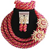 laanc 98% Crystal Womens Jewellery Sets Multicolor,Party,Gift,Multi Use - Nigerian Engagement African Beads Wedding (Hot Pink and Gold)