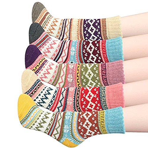 HAND SPINNER Femmes Laine 5 Paires Hiver Chaussettes Pour Trekking Camping Sportive Coton Warm Wool chaussettes