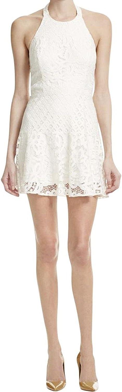 Parker Womens Leona Lace Halter Party Dress White L
