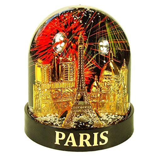 Souvenirs de France – Bola de nieve de lujo París 'Feu Artificie' en caja de regalo, color negro