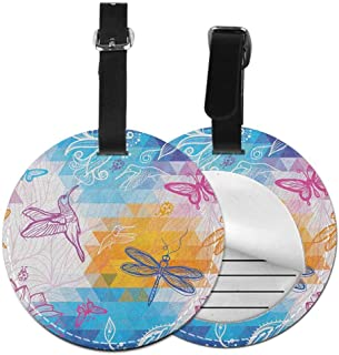 Godzigod Luggage Tags PU Leather Suitcase Card Tag with Stainless Steel Loop Travel Baggage Handbag Tag Labels Travel Accessories Dancing Dragonfly Swirled Motif