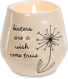 Pavilion Gift Company plain Dandelion Sisters are a Wish Come True Yellow Ceramic Soy Serenity Scented Candle