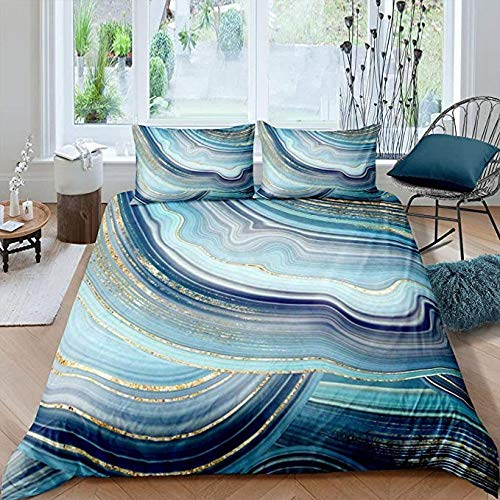 HUA JIE Kids Bedding Sets for Girls Blue Marble Bedding Set Full Size for Adult Women Golden Navy Decor Comforter Cover Abstract Stripe Cover,Teens Boys Girls Soft Microfiber Quilt Cover