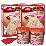 Betty Crocker Cherry Chip Cake Mix and Cherry Frosting [2 Each] | Spatula | Recipe Bundle