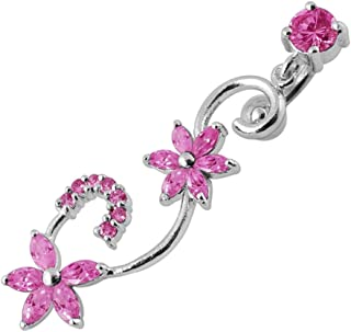 Fancy Vine and Flower Reverse Bar Dangling 925 Sterling Silver with Stainless Steel Belly Button Navel Rings