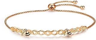 Presentski Bee Honeycomb Bracelet 925 Sterling Silver, Rose Gold Plated Adjustable Jewelry for Women Girls