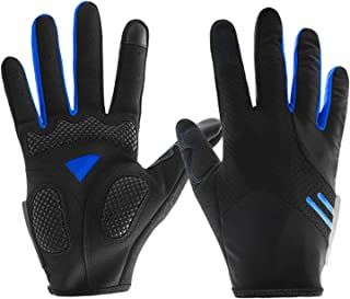 DIEBELLAU Unisex Cycling Gloves Bike Bicycle Gloves - Breathable Pad Shock-Absorbing Anti-Slip - Touch Recognition Full Finger Gloves for Men/Women (Pair) (Color : Blue, Size : XL)