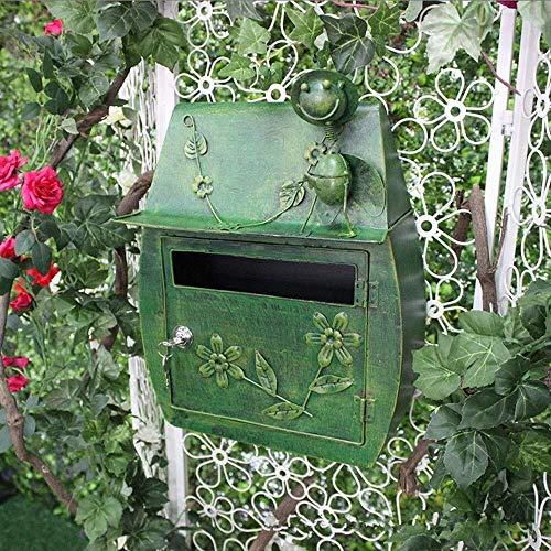 GJX-Mailbox Hängen Eisen Retro Wanddekoration Mailbox Dekoration Mailbox Garten Retro antike Briefkasten Briefkasten der Wand befestigter (Color : Green)