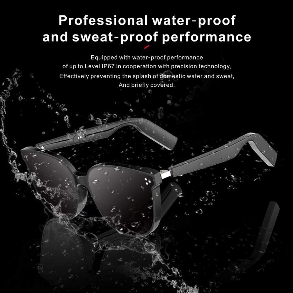 WGP Smart Glasses Wireless Wireless Bluetooth Sunglasses Open Ear Audio Driving Sunglasses Gray