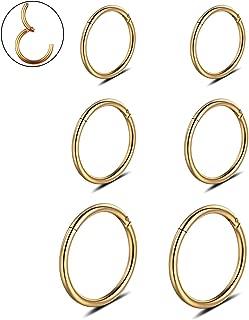 16G Stainless Steel 3 Pair Sleeper Earrings Clicker Nose Ring Body Piercing for Mens Womens