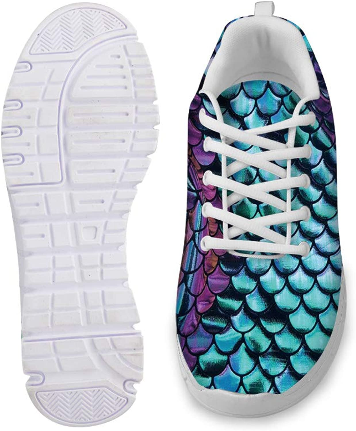 Owaheson Lace-up Sneaker Training shoes Mens Womens Paint Purple Green Fish Scales