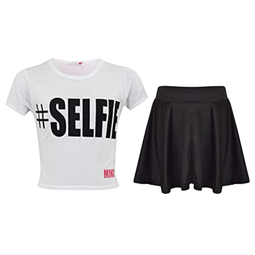 a2z4kids Kids Girls Comic Graffiti Leopard #Selfie Crop Top & Fashion Skater Skirt Set