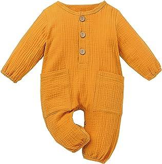 الوليد بيبي بوي فتاة القطن الكتان رومبير بذلة مع جيوب ملابس ملابس (Color : Yellow, Size : 90)
