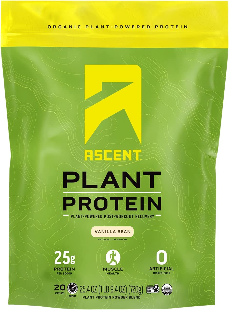 Ascent Organic High order Plant Based Protein Powder 20 Vanilla Rapid rise Serving -