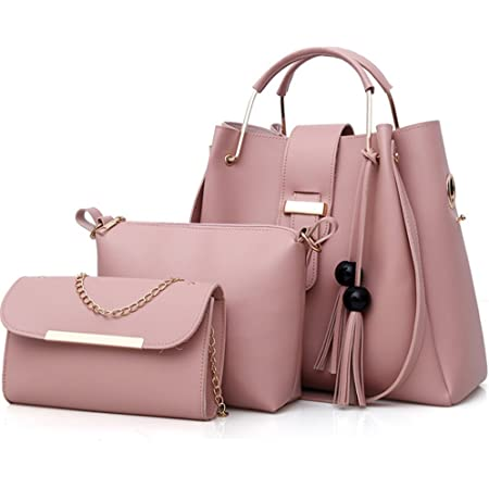 FiveloveTwo Damen 3Pcs PU Leder Tasche Set Handtasche + Schultertasche + Umhängetasche Henkeltaschen Rucksackhandtaschen Shopper Clutches Handbag Set Tote Tragetaschen