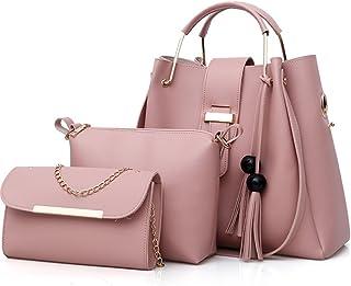 FiveloveTwo Damen 3Pcs PU Leder Tasche Set Handtasche + Schultertasche + Umhängetasche Henkeltaschen Rucksackhandtaschen S...
