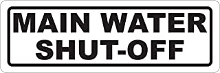 INDIGOS UG - Sticker - Safety - Warning - Main Water Shut-Off Sign 304mmx108mm - Decal for Office - Company - School - Hotel