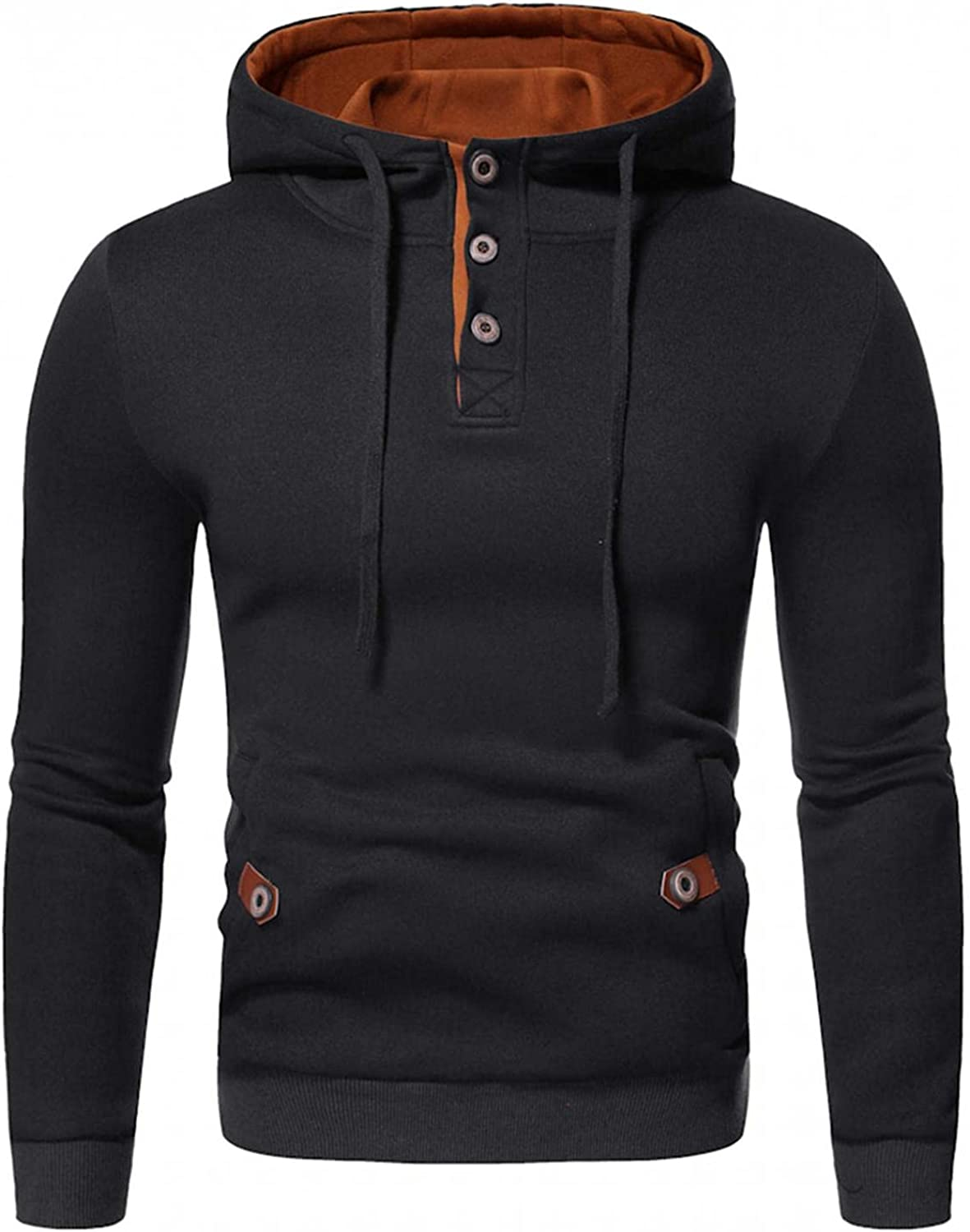 Qsctys Pullover Hooded Men V Neck Button Down Fashion Athletic Hoodies Long Sleeve Slim Fit Sweatshirts with Kanga Pockets