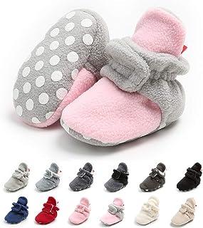 Meckior 新生儿女婴男童保暖羊毛冬靴*步行者拖鞋 E-pink&gray With Hook&loop 12-18 Months Toddler