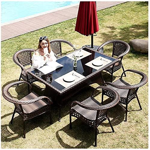 Xkun Terraza que habla de ratán silla y mesa conjunto terraza muebles jardín mesa y silla conjunto familia césped muebles al aire libre mesa de café terraza (4 piezas de mesa de centro