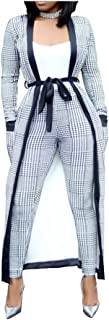 VERWIN Long Sleeve Plaid Tops and High Waist Skinny Pants Houndstooth Cardigan Pants Set Outfit 3 Sets