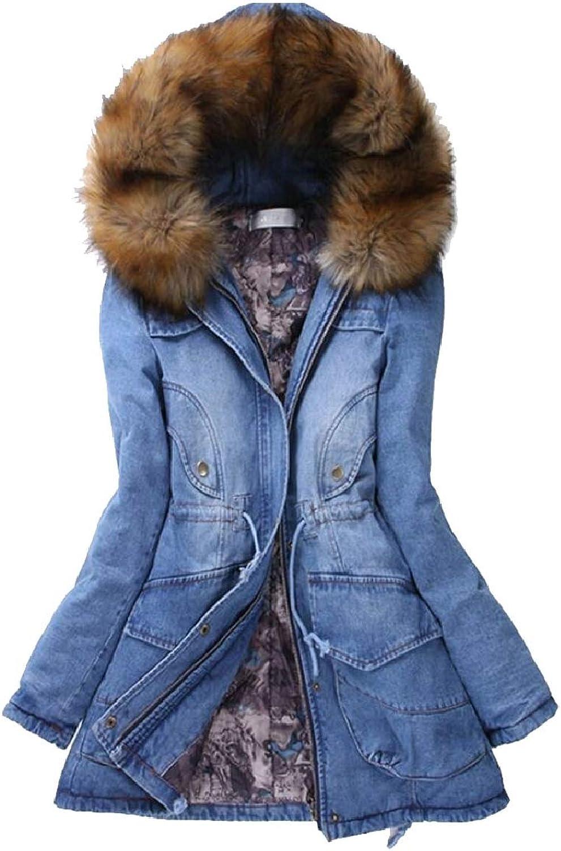 SmeilingCA Women FauxFur Collar Denim Mid Long Length Quilted Down Jacket Coat