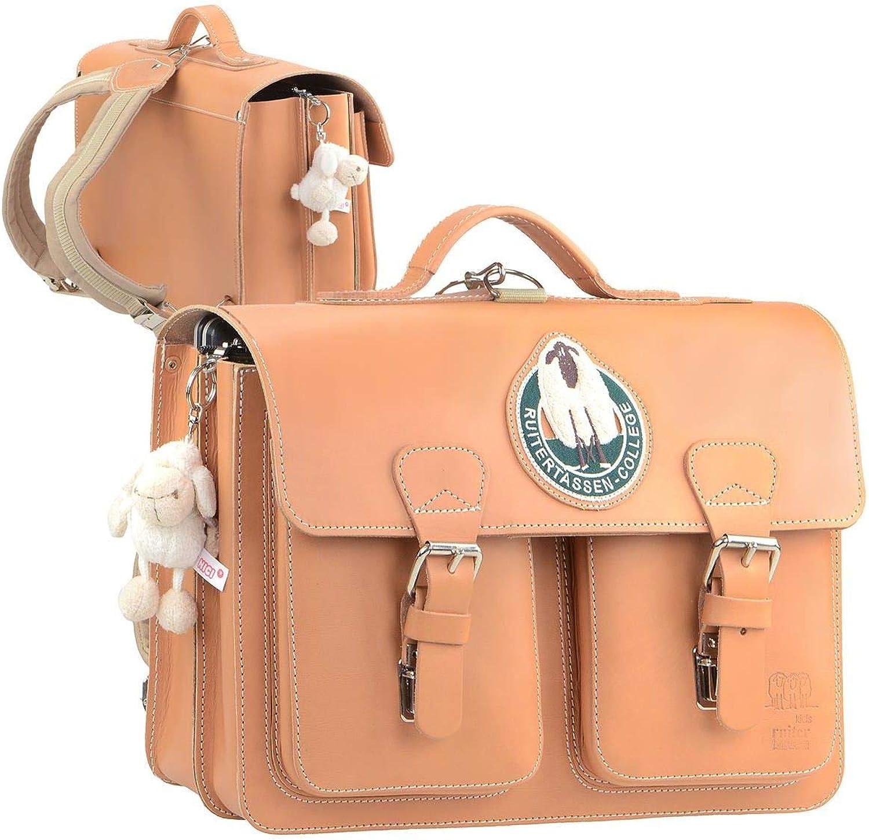 Ruitertassen Schulranzen Leder Lederranzen 38cm 2 Fächer Schultasche mit Rückengurten Natur braun B07J46R8VR   Verwendet in der Haltbarkeit