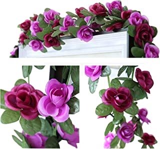 LumenTY 2 Piezas 2.5 M Guirnalda Artificial para Colgar Flor de Rose Rattan Wisteria Seda Garland Colgando Para la boda en casa Jardín Decoración de fiesta de cumpleaños de Navidad - Púrpura