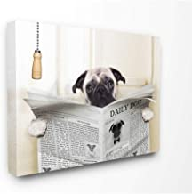 The Stupell Home Décor Collection Pug Reading Newspaper in Bathroom Canvas Wall Art, 24 x 30 Inches