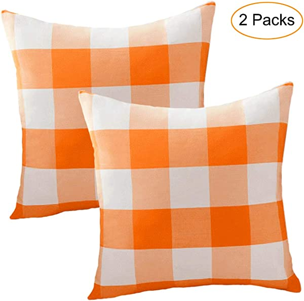 Jashem Plaid Throw Pillow Cover 18x18 Inch Buffalo Check Square Pillow Cover 2 Set Of Modern Home Decorative Cushion Cover Pillow Case For Home Office Decor Orange
