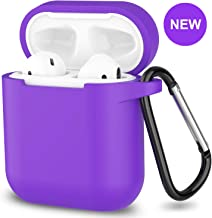 AirPods Case,SATLITOG Protective Silicone Cover Compatible with Apple AirPods 2 and 1(Not for Wireless Charging Case)(Purple)