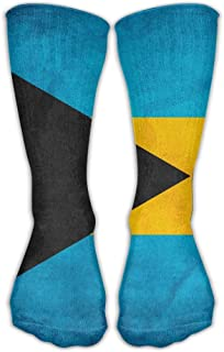 Retro Bahamian Flag Knee for Mens Womens Adult Cotton Cozy Long Calcetines for Yoga Hiking Cycling Running Soccer Sports