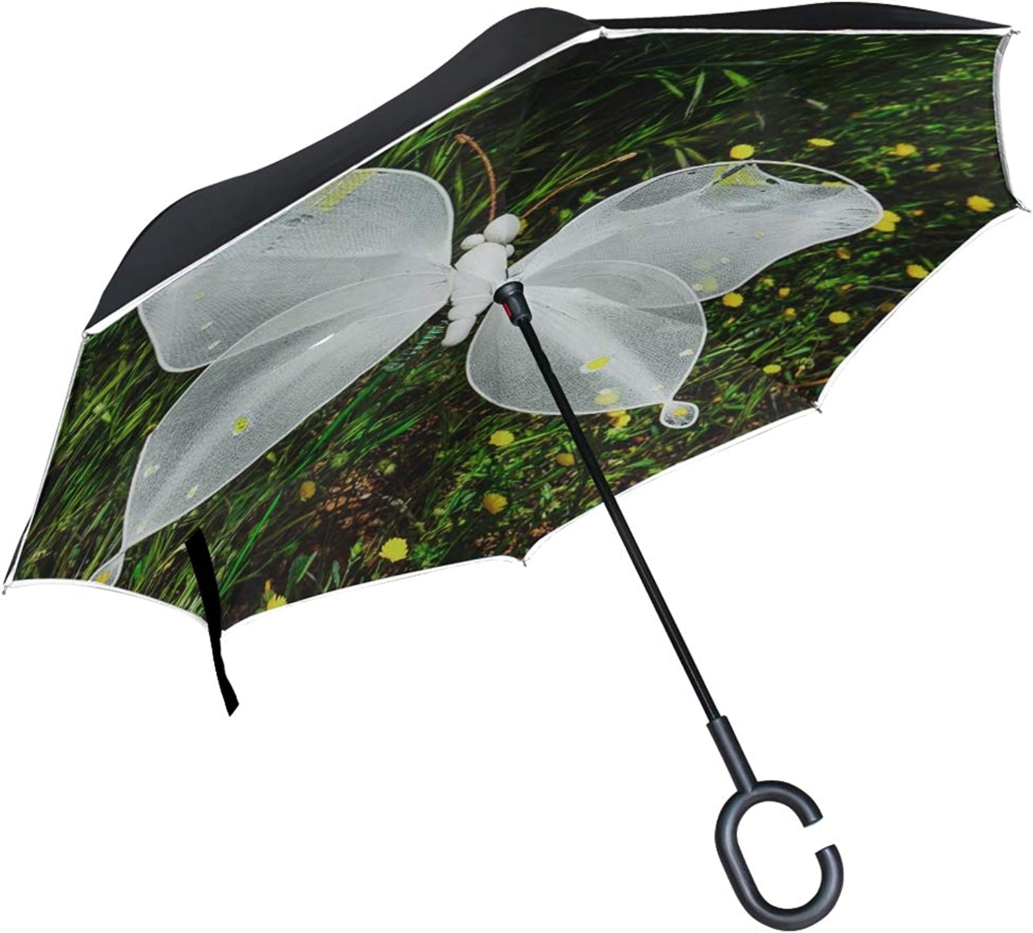 Double Layer Ingreened Butterfly Garden Nature Spring Decorative Umbrellas Reverse Folding Umbrella Windproof Uv Predection Big Straight Umbrella for Car Rain Outdoor with CShaped Handle