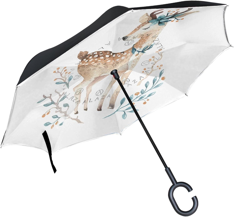 ALAZA Baby Deer Animal Floral Flower Ingreened Double Layer Windproof Reverse Umbrella