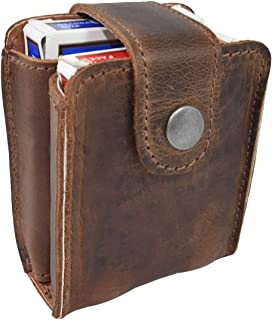 Hide & Drink, Rustic Leather Double Deck Holder, Board Games Card Case, for Magicians and Poker Players, Camping Holidays ...