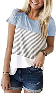 YunJey Women's Round Neck Block Stripe T-Shirt