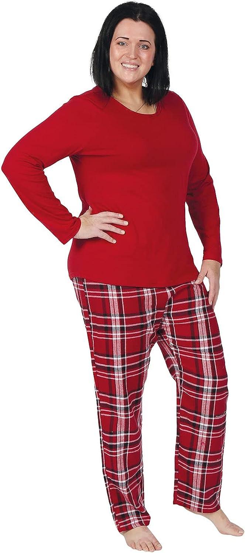 Metropolitan Womens Flannel Pajama Set - Long Sleeve PJ Top, Plaid Bottoms