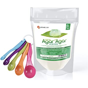 Agar Agar Powder 4oz, 5-piece Measuring Spoon Set: Gelatin Substitute, Vegan, Unflavored, Gummy bears, Cheese, Vegetarian, Keto, Gluten-free, Non-GMO, Sugar-free, Halal, Thickener |LIVING JIN
