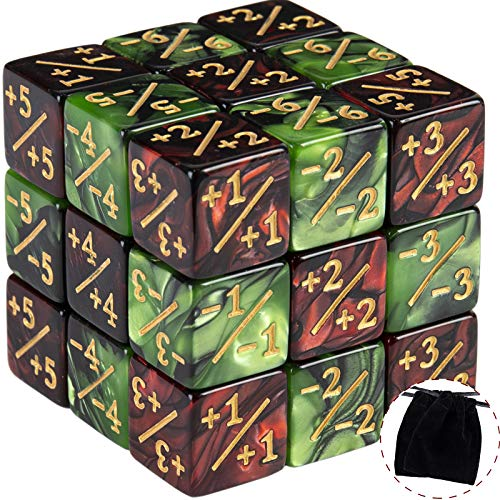 24 Pieces Token Dice Counters Creature Stats or Loyalty Dice Marble Cube D6 Dice for Magic The Gathering CCG MTG Card Gaming Accessories (Ruby&Black, Emerald&Black)