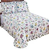 Collections Butterfly Joy Floral Lightweight Plissé Summer Cotton Ruffle Bedspread, Full