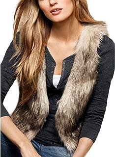 xzbailisha Women Faux Fur Jacket Sleeveless Brown Furry Outwear Coat Winter Short Vest