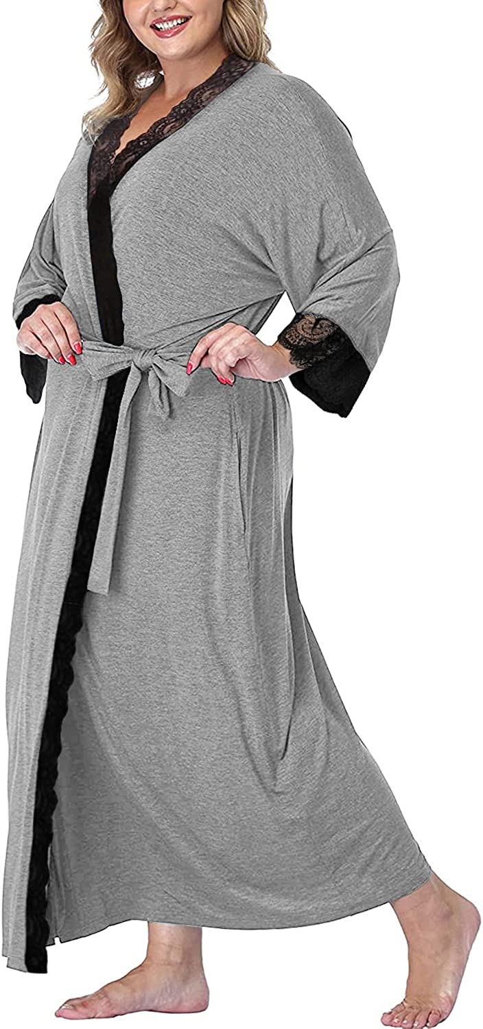 Tongmingyun Max 85% OFF Women's Plus Size Robes Lightweight Bathro Long Branded goods Knit
