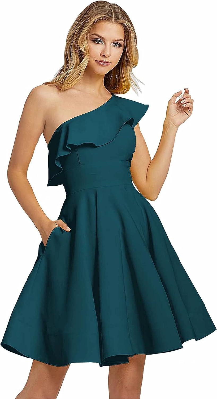 Xijun One Shoulder Ruffles Satin Bridesmaid Dress Short Formal Prom Dresses Homecoming Cocktail Evening Gown
